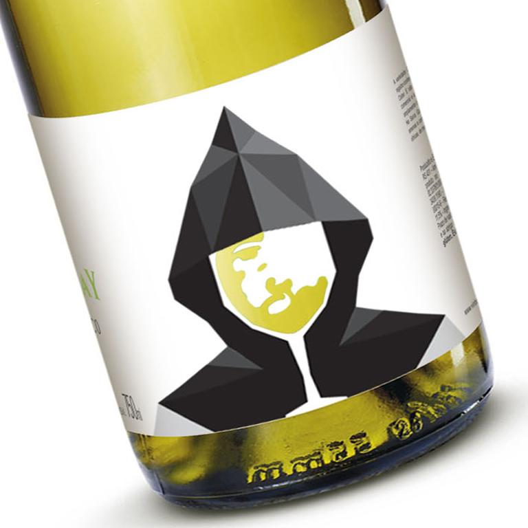 Ilustração de rótulo para chardonnay da vinícola cristofoli