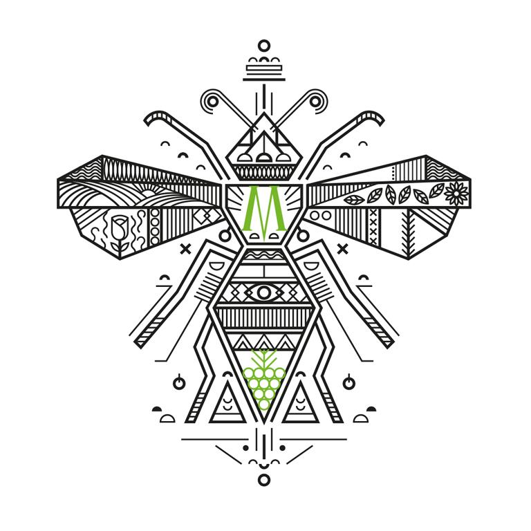 Ilustração de marca para rótulo de vinho moscato cristofoli