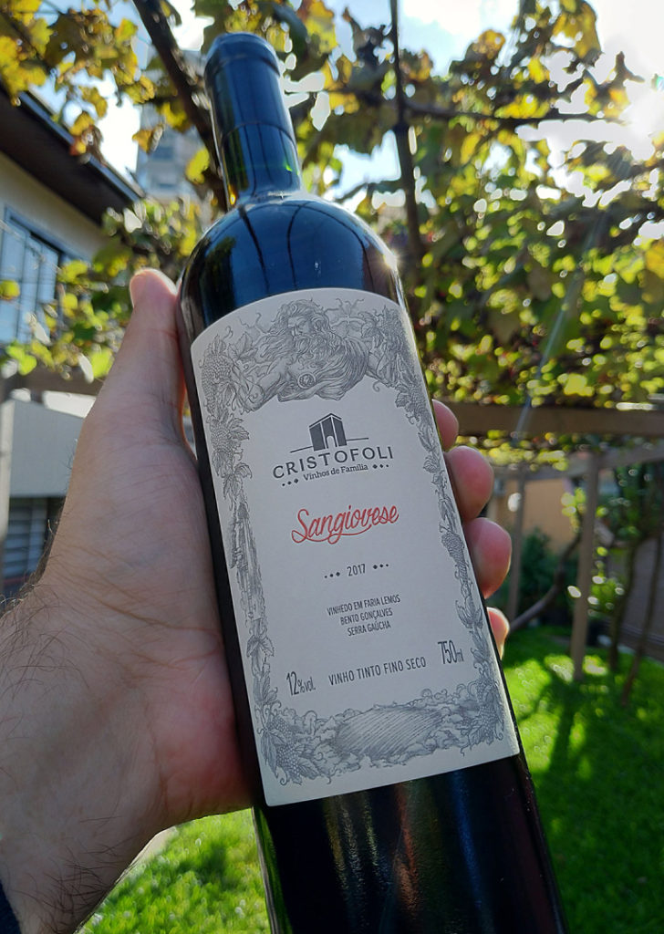 Ilustração para rótulo do vinho sangiovese da vinícola cristofoli